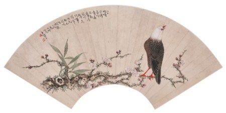 王师子(1885-1950) 竹梅栖禽图