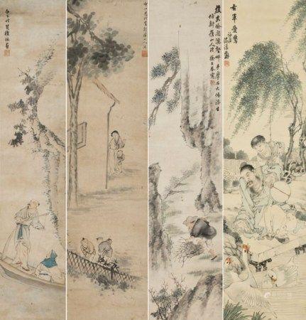 徐林(1872-1928)/戴炳(1861-1945)/徐三春(19-20世纪)/沈沩(19-20世纪) 山水人物四幅