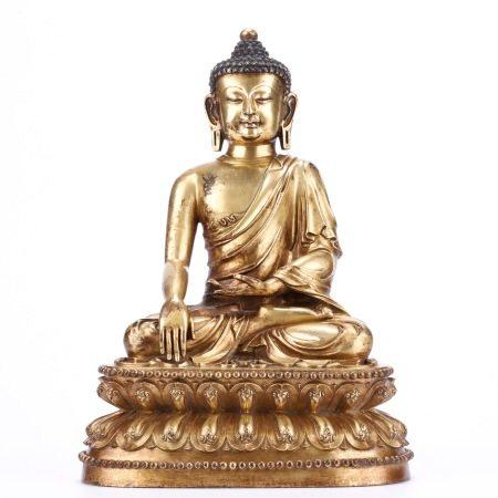 铜鎏金释迦牟尼佛坐像