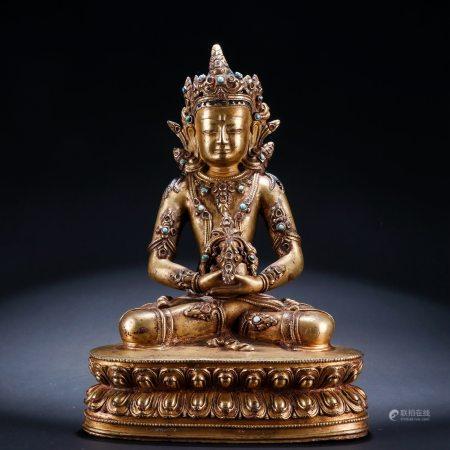 铜鎏金嵌宝无量佛像