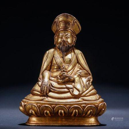 铜鎏金佛教上师造像
