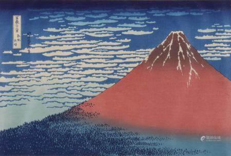 "Farbholzschnitt, ""Klare Morgendämmerung bei Südwind (roter Fuji)"", Japan, 19./20. Jh., Katsushika"