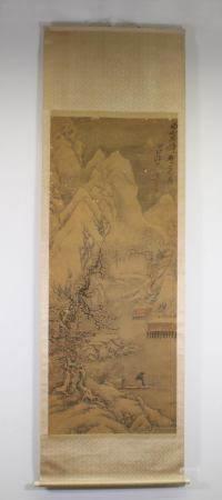 """Malerei, """"Winterliche Berglandschaft"""", China, 18./19. Jh., Tusche und leichte Farben auf Seide, obe"""