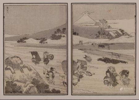 """2 Buchseiten, """"Fuji mit Hütte"""", Japan, 19. Jh., schwarzweiß, Katsushika Hokusai (1760-1849) zuges"""