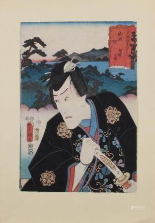 """Farbholzschnitt, """"Schauspieler"""", Japan, 19. Jh., Utagawa Kunisada (1786-1865), aus der Serie der 53"""