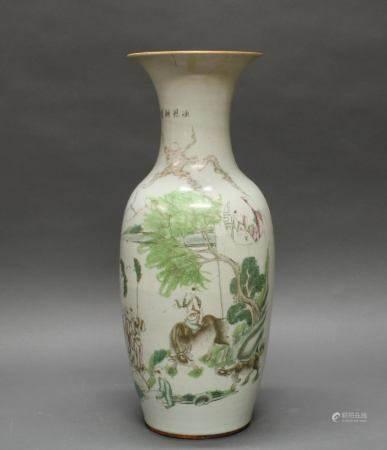 Balustervase, China, 2. Hälfte 19. Jh., Porzellan, famille rose, Szene mit einem Knaben auf Ochsen
