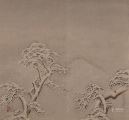 """Malerei, """"Verschneite Bäume vor Fuji"""", Japan, 20. Jh., Farbe auf Seide, unten links rotes Malersie"""