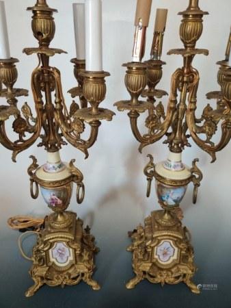 Pair of 5 Lights Bronze Candelabra