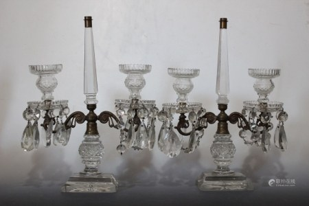 Pair of 2 Lights Crystal and Bronze Candelabra