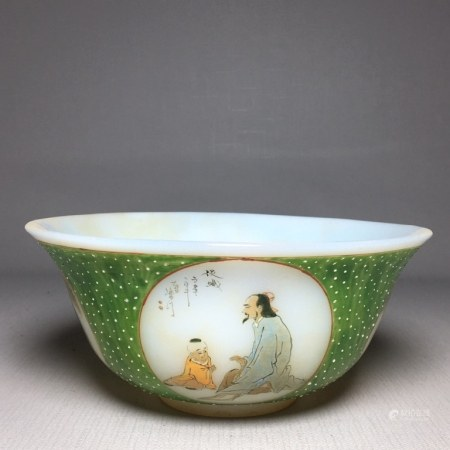 Chinese Painted Glass Bowl