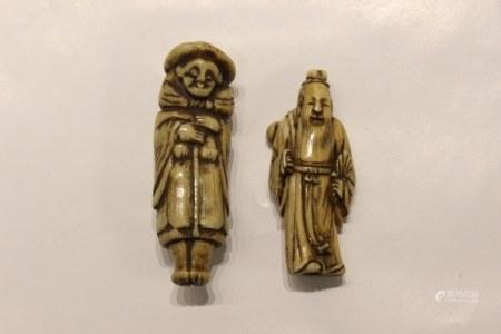 18th.C Two Japanese Bone Netsuke