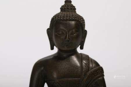 TWO BRONZE FIGURES OF BUDDHA
