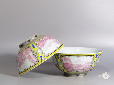 """Chinese Pair Of """"Landscape And Figures"""" Porcelain Bowls"""