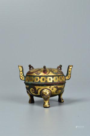 Chinese Bronze Gold Painted Tripod Furnace