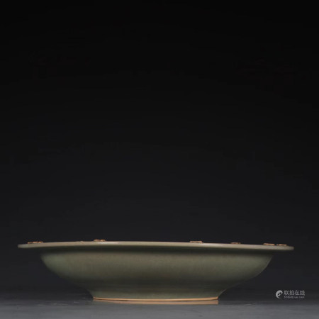 """Chinese Longquan Kiln """"Dragon"""" Carved Porcelain Plate"""