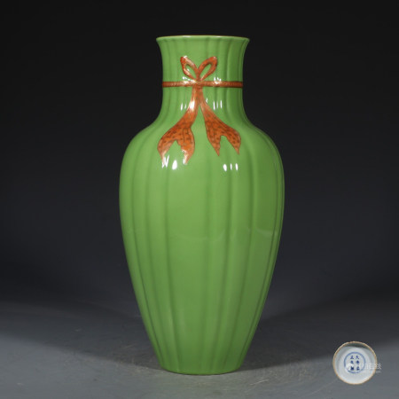 Chinese Green Gold Painted Porcelain Bottle