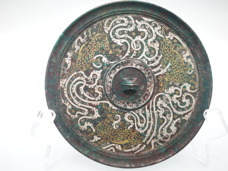 Chinese Bronze Gold And Silver Painted Mirror