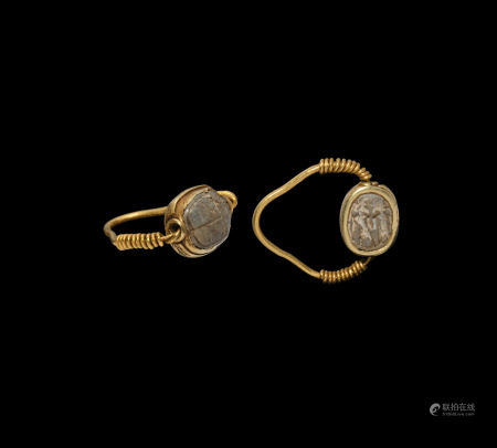 Egyptian Gold Swivel Ring with Scarab