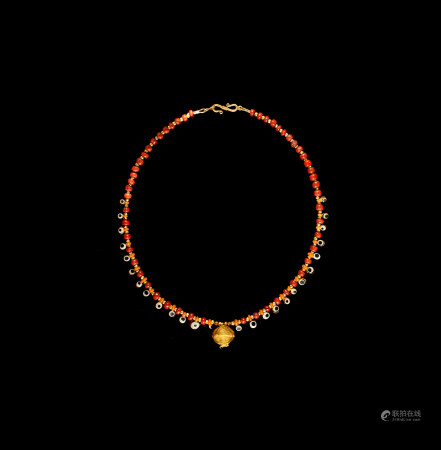 Phoenician Necklace with Gold Pomegranate Pendant
