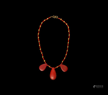 Egyptian Red Jasper Triple Teardrop Necklace