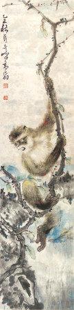 高奇峰 猿趣圖