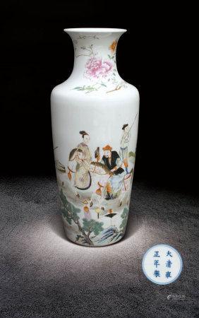 清雍正 粉彩狩獵圖瓶