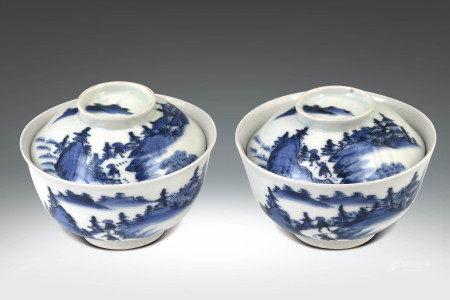 清 青花山水紋蓋碗一對