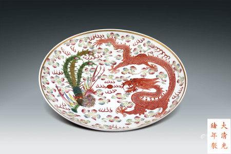 清 龍鳳紋描金盤