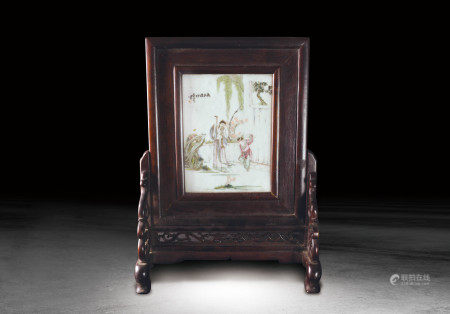 清 粉彩人物紋瓷板插屏