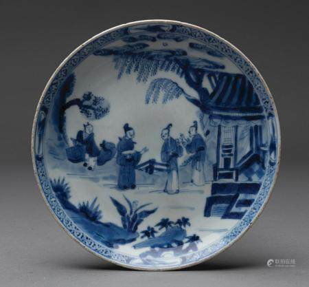 A finely painted Chinese blue and white saucer-dish, Qing Dynasty, Yongzheng mark and period (1678-1735)
