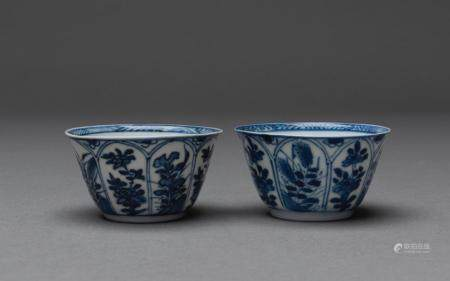 A PAIR OF CHINESE BLUE AND WHITE TEA-BOWLS, KANGXI PERIOD (1662-1722)