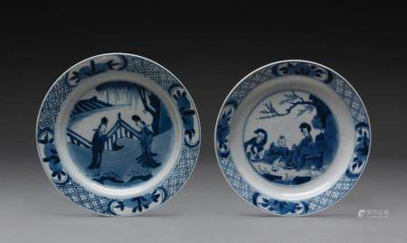 A PAIR OF CHINESE BLUE AND WHITE BARBED SAUCER DISHES, KANGXI PERIOD (1662-1722)