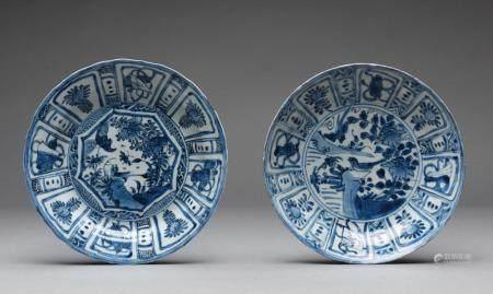 TWO CHINESE KRAAK BLUE AND WHITE PORCELAIN PLATES, KANGXI PERIOD (1661-1722)