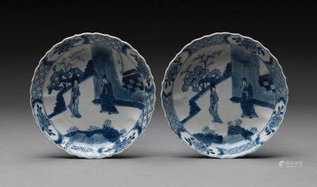 A PAIR OF CHINESE BLUE AND WHITE SAUCER DISHES, QING DYNASTY, KANGXI PERIOD (1662-1722)