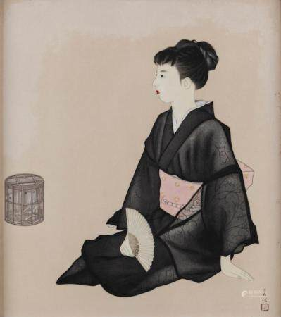 A FINE QUALITY JAPANESE PAINTED PORCELAIN PLAQUE DEPICTING A SEATED LADY WITH A FAN AND A BASKET, TAISHO PERIOD (1912-1926)