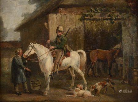 École française du début du XIXe siècle. Militaire devant l'écurie. Huile sur carton (restaurat