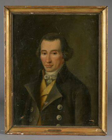 École française vers 1840. Portrait de jeune homme à la veste noire. Huile sur toile (craquelur