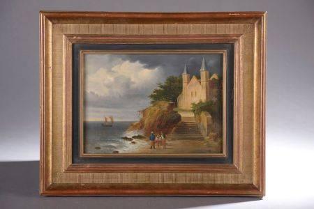 École française du XIXe siècle. Paysage à l'église en bord de mer. Huile sur toile. Cachet du f