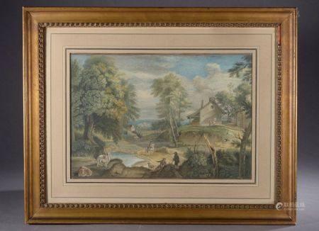 École française du XIXe siècle. Paysage animé. Aquarelle sur papier. Haut. : 25,5 cm - Larg. :