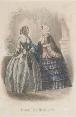 """École française du XIXe siècle.  """"Journal des Demoiselles"""". Suite de trois gravures de modes is"""
