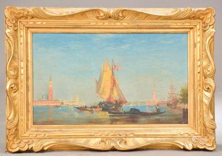 """D'après Felix ZIEM. Vues de Venise. Deux huiles sur toile, signées et portant la mention """"d'apr"""