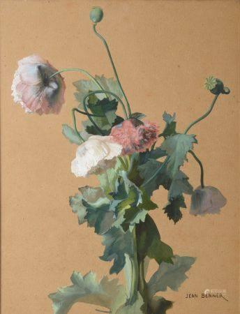 Jean BENNER (1836-1906). Anémones. Gouache signée en bas à droite. Haut. : 49 cm - Larg. : 37,5