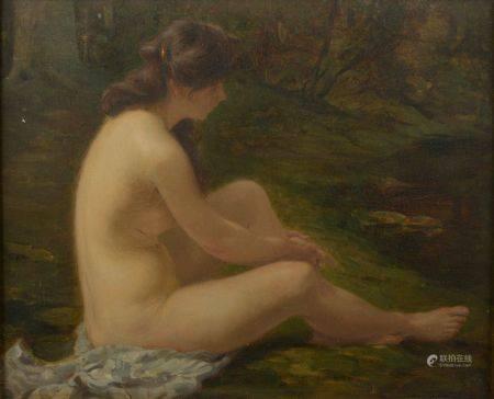 Jean RACHMIEL (1871-1954). Baigneuse. Huile sur toile signée en bas à droite. Haut. : 39 cm - L