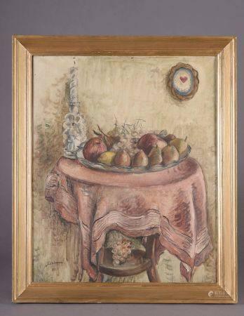 """Chérie-Anne Fargue dite CHERIANE (1900-?). """"Nature morte aux poires"""". Huile sur toile signée da"""