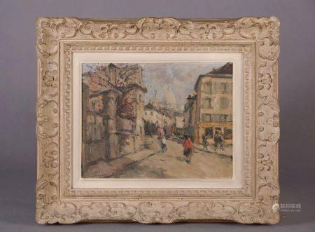 École moderne. Ruelle de Montmartre. Huile sur isorel signée (?) et située en bas à gauche.  Ha