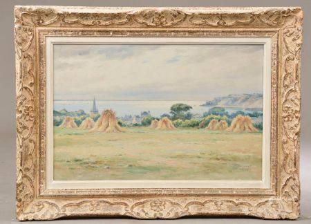 """Léon HAMONET (1877-1953). """"Grève du Portuais"""", """"Maisons à Erquy"""" Deux aquarelles signées et sit"""