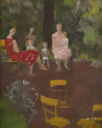 André-Albert TONDU (1903-1980). Famille dans un jardin. Huile sur toile signée en bas à droite.