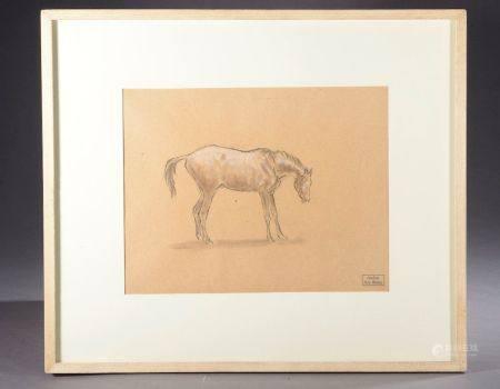Ary-Jean-Léon BITTER (1883-1973). Étude de cheval. Fusain et rehaut de gouache, signée du cache