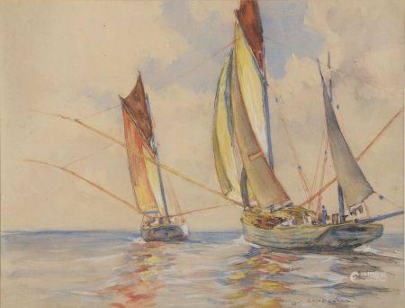 Jean-Paul GUINEGAULT (1918-2009). Thoniers au large. Aquarelle signée en bas à droite (petites