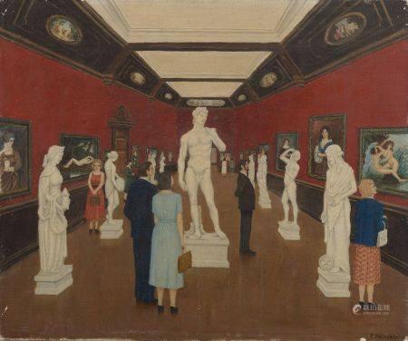 P. BEUCHERE (XXe siècle). La galerie de sculptures.  Huile sur toile signée en bas à droite.  H
